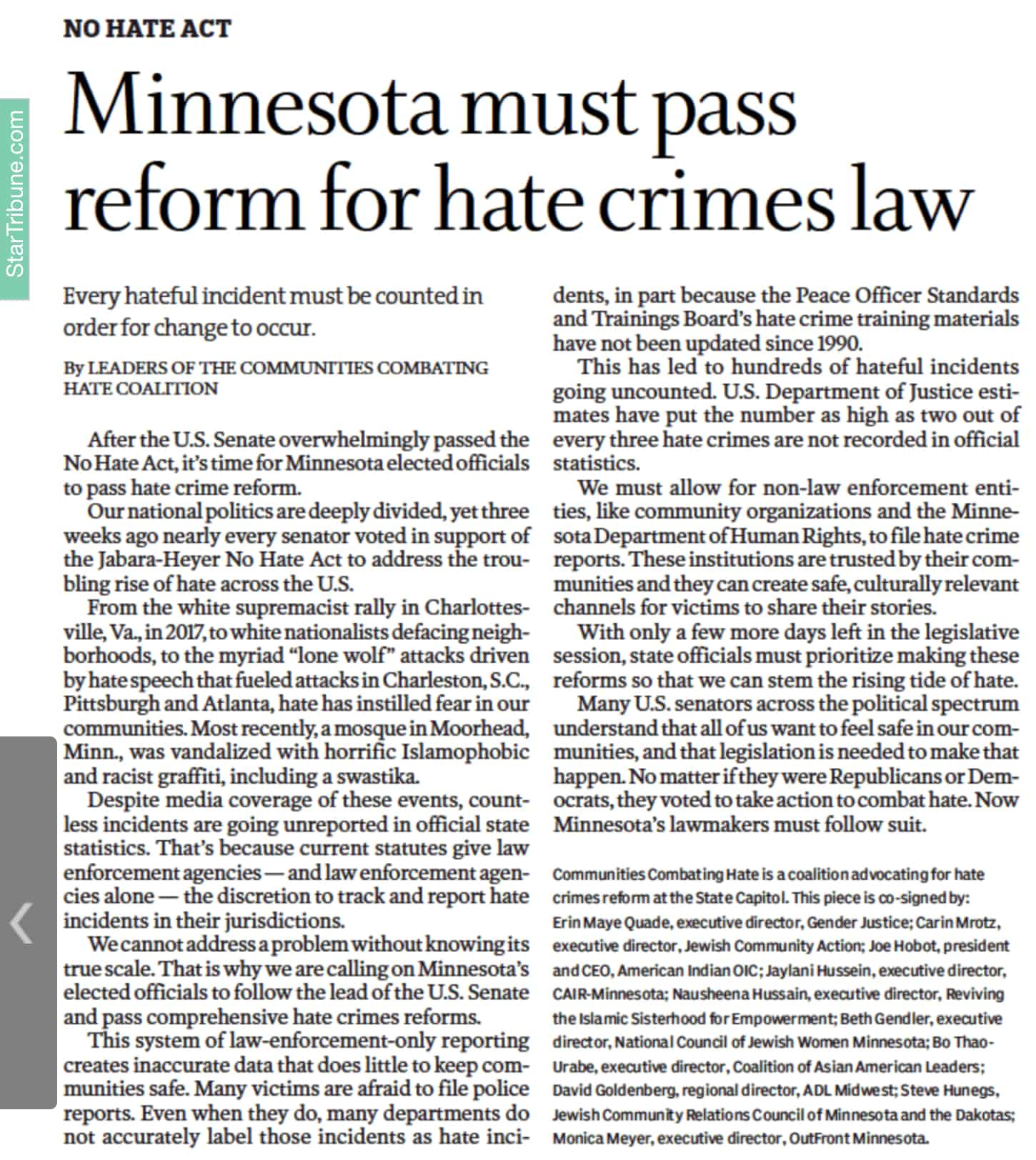 Read more about the article Hate Crimes Reform Commentary