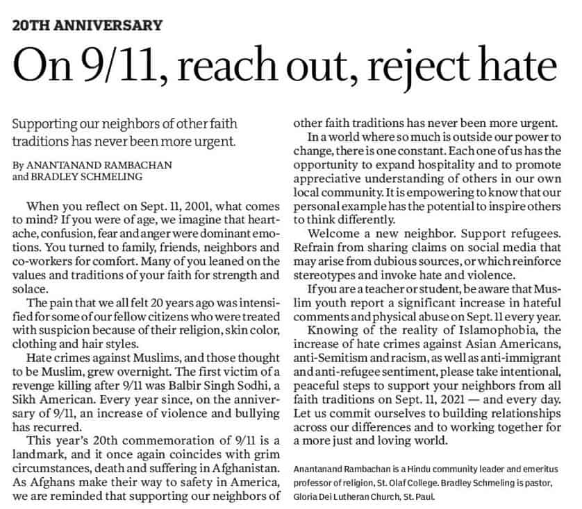 Read more about the article To mark 9/11, reach out, reject hate
